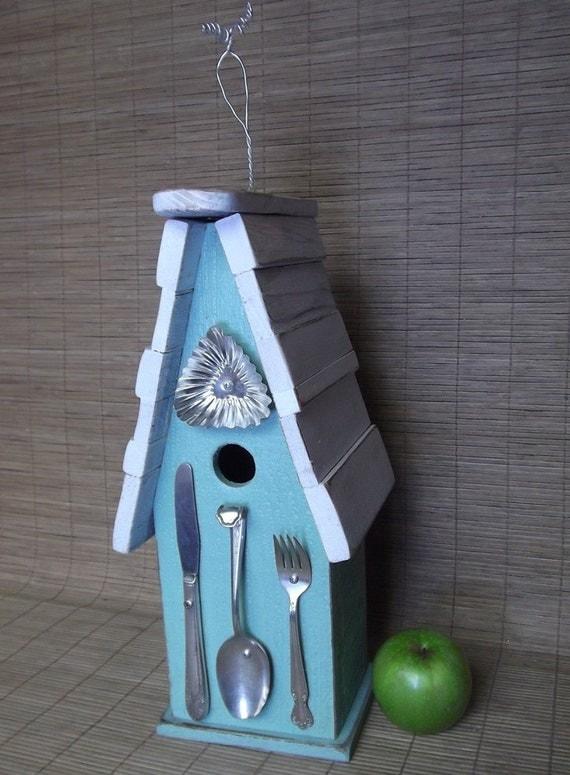 Shabby Chic Birdhouse, Turquoise Birdhouse, Whimsical Birdhouse, White, Aqua, Silverware, Cottage