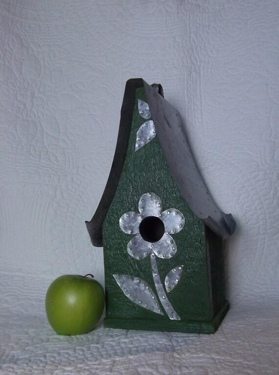 Whimsical primitive avocado green birdhouse, galvanized metal roof  & decorative flowers, recycled cedar