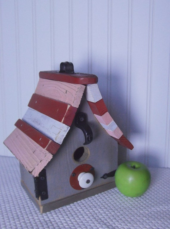 Shabby chic birdhouse, red and pink birdhouse, wood birdhouse, reclaimed materials, outdoor or decorative birdhouse