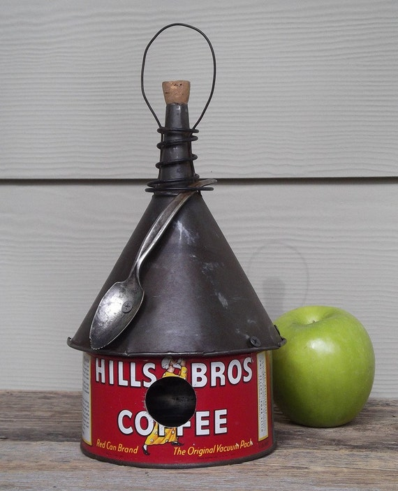 Coffee Can Birdhouse Whimsical Birdhouse Funnel Roof Red