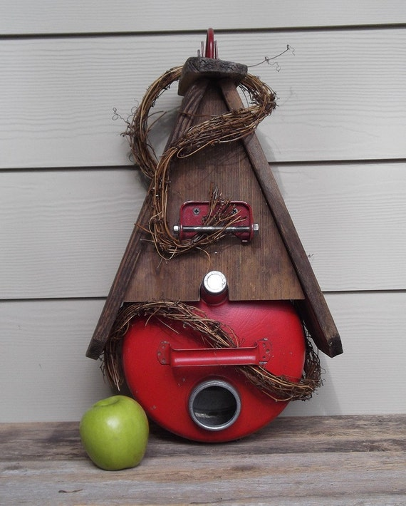 Red vintage gas can birdhouse, whimsical, one of a kind, outdoor birdhouse, decorative birdhouse