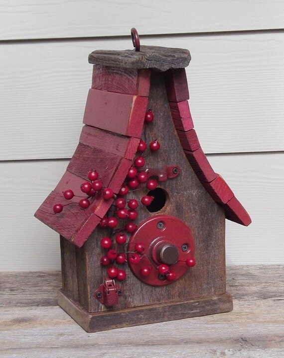 Primitive birdhouse, red berries, rustic birdhouse, red, brown, recycled hardware, decorative birdhouse, outdoor birdhouse
