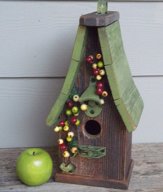 Primitive birdhouse, lime green, one of a kind, berries, decorative birdhouse, outdoor birdhouse, wood birdhouse, rustic, recycled