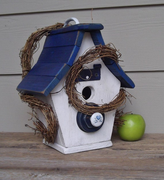 Shabby Chic Birdhouse, Blue and White Birdhouse, Rustic Birdhouse,  Decorative Birdhouse, Outdoor Birdhouse, Cottage, Recycled Materials
