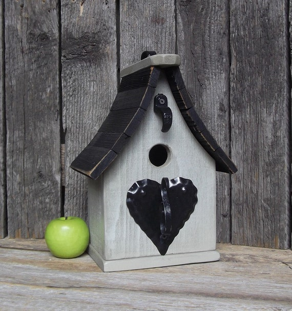 Primitive Birdhouse, Black and Tan, One of a Kind, Outdoor Birdhouse, Decorative Birdhouse, Recycled, Reclaimed Materials