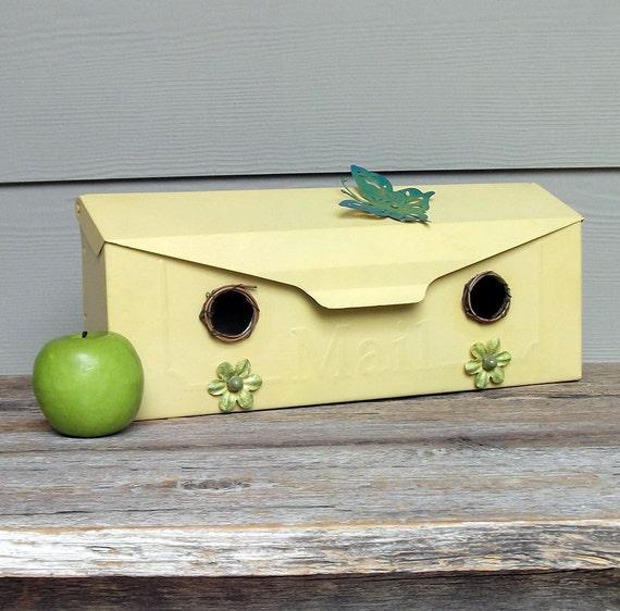 Yellow Birdhouse, Vintage Mailbox Birdhouse, Whimsical Birdhouse, Decorative Birdhouse, Outdoor Birdhouse, Recycled Flowers, Butterfly, OOAK