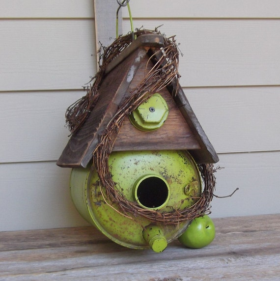 Decorative Bird House Theme And Kids Rooms Ideas: Vintage Lime Green Gas Can Birdhouse Whimsical Birdhouse