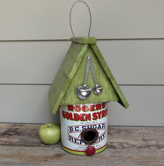Vintage Syrup Can Birdhouse, Tin Can Birdhouse, Repurposed Canister, Whimsical Birdhouse, Lime Green, Decorative or Outdoor Birdhouse