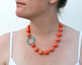 Beach Necklace Statement Jewelry Pink Coral Turquoise and Gold