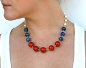 Red White and Blue Chunky Color Block Statement Necklace Silver