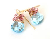 Sky Blue and Pink Dangle Drop Earrings Gold