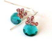Peacock Teal and Pink Dangle Drop Earrings Silver