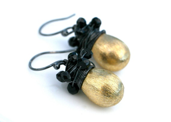 New Years Eve Earrings Brushed Vermeil Gold Drops Black Spinel Oxidized Sterling Silver