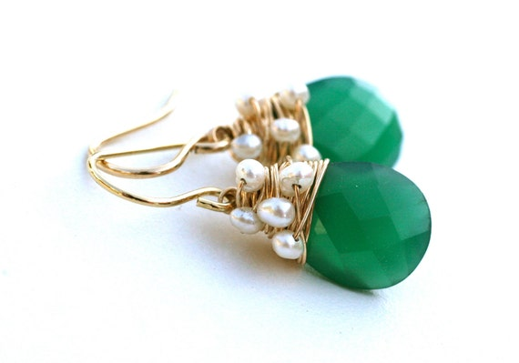 Green Onyx and Pearl Wire Wrapped Earrings 14k gold filled