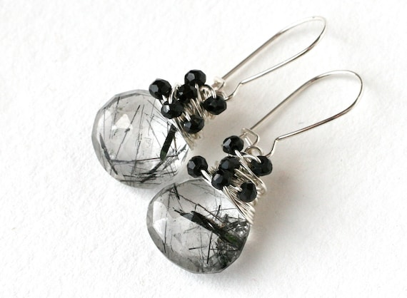 Black and White Needles Dangle Drop Earrings Silver