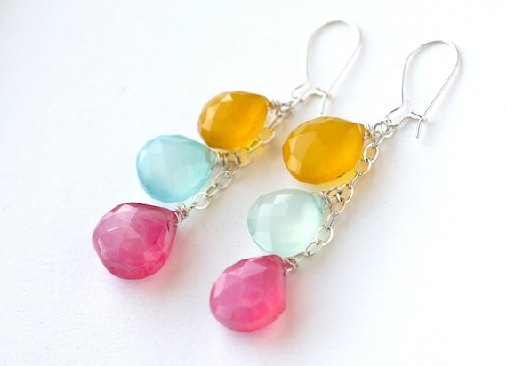 Easter Egg Earrings Rainbow Chalcedony Sterling Silver - Spring Fashion Accessories, Under 50 dollars, Free Shipping
