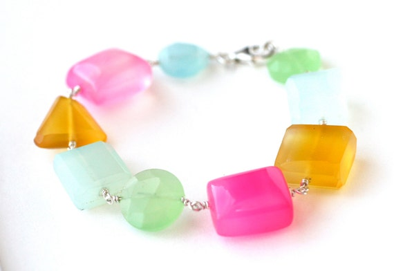 Easter Egg Bracelet Rainbow Chalcedony Sterling Silver - Spring Fashion Accessories, Under 50 dollars, Free Shipping