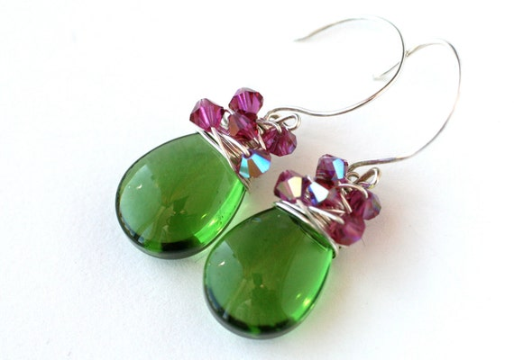 Earrings Teal Green and Magenta Pink Swarovski Sterling Silver Filled - Fashion Under 25 dollars