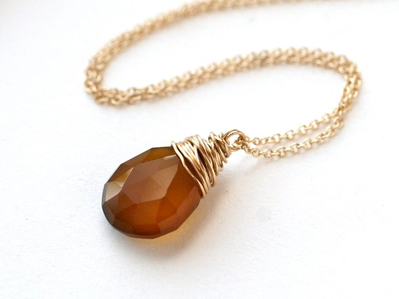 Necklace Caramel candy brown chalcedony and 14k gold filled
