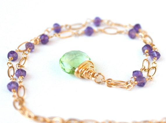 Necklace Peridot Green Quartz  and Purple Amethyst 14k Gold Filled Spring Flowers, August Birthstone, Under 50 dollars, Fashion