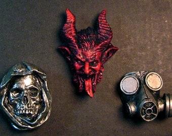 Set of Magnets, Krampus, Santa Muerte, Gasmask