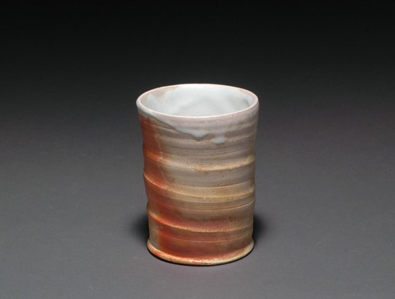 Wood Fired Whiskey Cup or Small Tumbler with White Matte Liner Glaze 6
