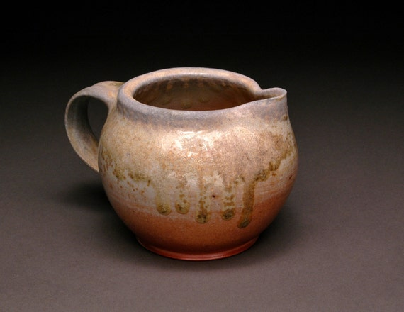 Small and Round Wood Fired Creamer or Pitcher with Beautiful Ash Drips and Great Flashing 6