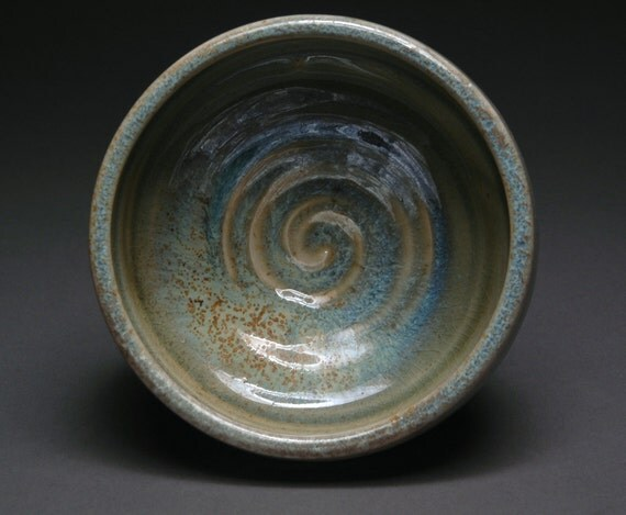 Wood-fired Bowl with Blue, Yellow, and Green Ochre Celadon Liner and Glaze Stripes