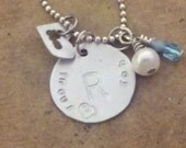 Hand Stamped Initial charm necklace - heart - fresh water pearl - birth stone -memorial necklace - Free shipping
