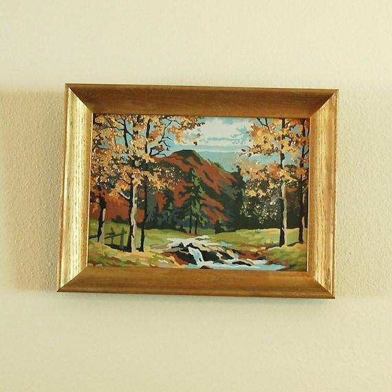 "Vintage Paint by Number Framed Artwork 12.5"" by 16.5"""