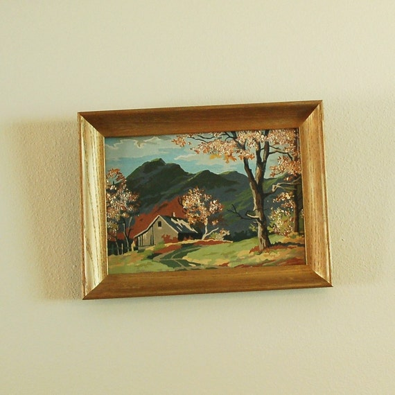 "Vintage Paint by Number Framed Artwork 12.5"" by 16.5"""