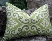 SALE. 16 x 24 Indoor/outdoor Ikat Chatreuse accent pillow cover.