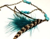 Long Feather Necklace with Turquoise - Paige