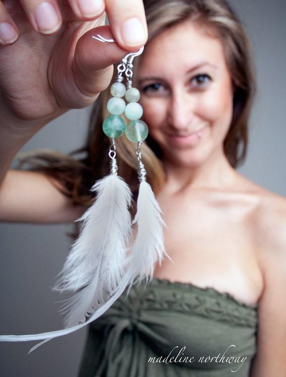 Feather Earrings White with Jade Beads-C l a i r e
