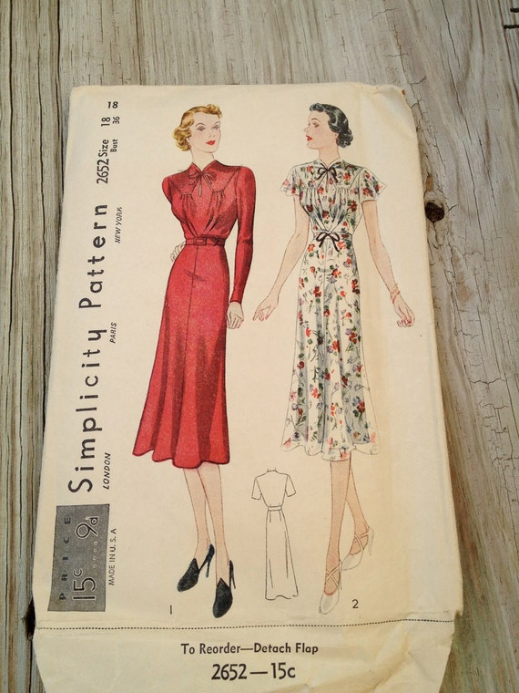 Simplicity 2652 Dress Pattern 1930s Bust 36