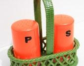 plastic retro salt & pepper shakers - picnic basket