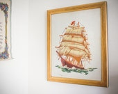 vintage yarn art : pirate ship .. handmade ooak