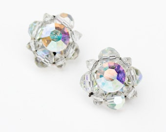 vintage floral flower retro shabby chic clear silver clip on earrings gem jewel bright 60s 70s hippie mod bauble