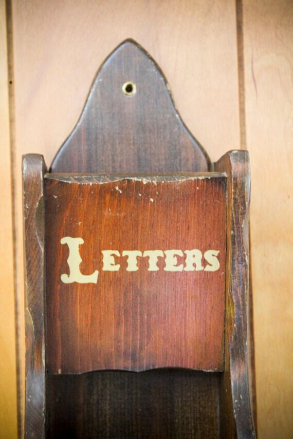 wood mail holder : letters, bills, misc