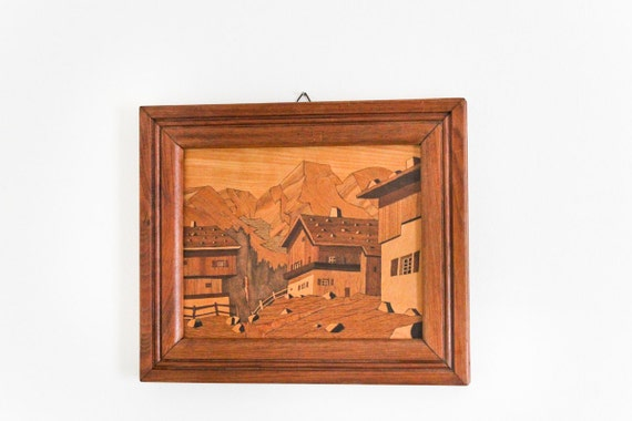 vintage marquetry wood art : village houses mountains .. handmade OOAK