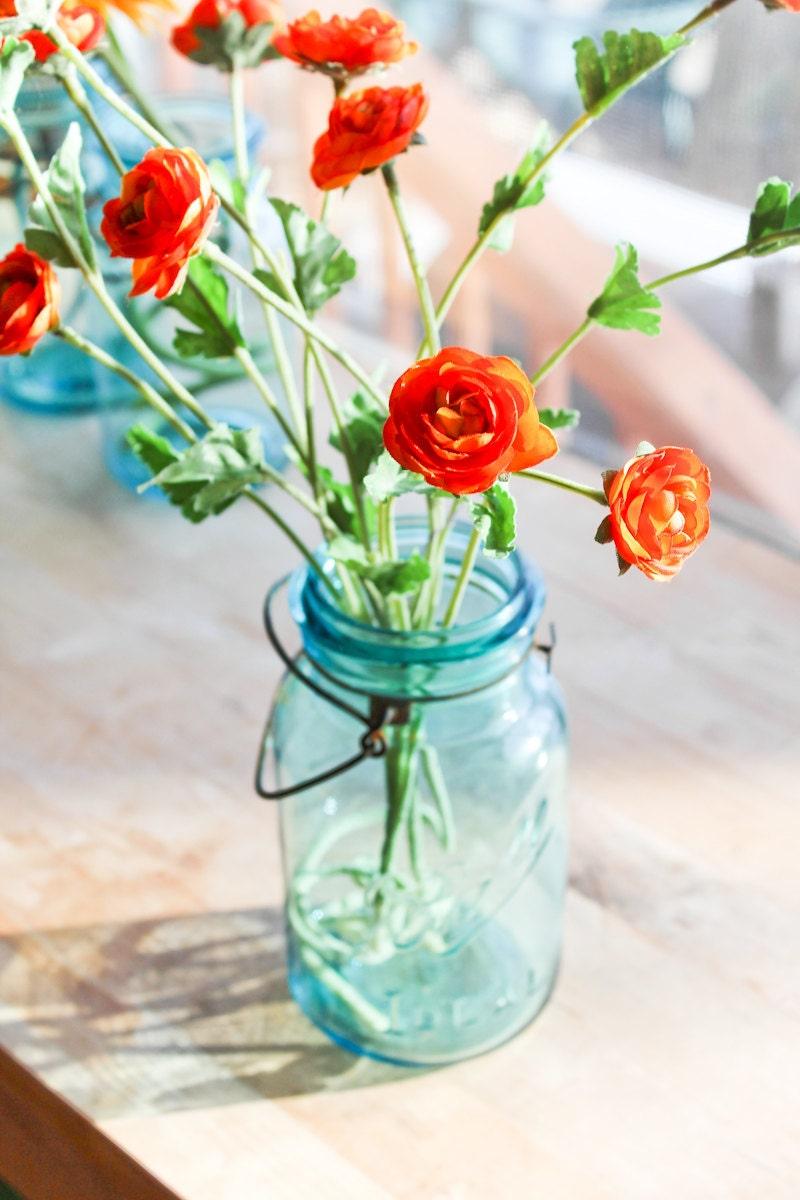 blue mason jars vintage ball quart glass top 4 by. Black Bedroom Furniture Sets. Home Design Ideas