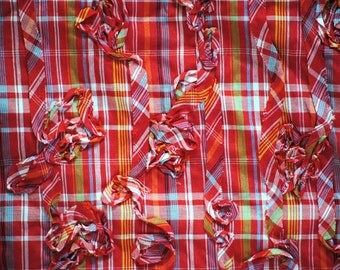 Red Madras Plaid With Ribbon Embellishment, 1 yard