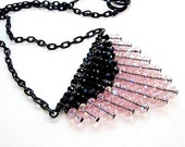 Pink & Black Necklace - Fringe - Chevron Jewelry