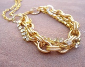 Yellow Gold Necklace - Chain Necklace - Fashion Jewelry - Crystal Jewellery - Multistrand - Unique - Trendy - Chunky N-24