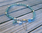 Blue Apatite Bracelet Sterling Silver Jewelry Natural Gemstone Jewellery Butterfly Charm 925 Semiprecious Stackable Safety Chain Layer B-75