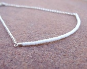 White Beaded Bar Bracelet - White Skinny Bead Bar Jewellery - Sterling Silver Jewelry - Thin - Stack - Layer - Chain B-TBM