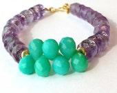 Amethyst Bracelet Gold Jewelry Mint Green Chalcedony Gemstones Vermeil Purple Jewellery Vibrant Unique Luxe B-185