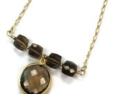 Brown Smoky Quartz Necklace Bead Bar Yellow Gold Jewelry Gemstone Jewellery Pendant Chain Mother's Day Gift N-206