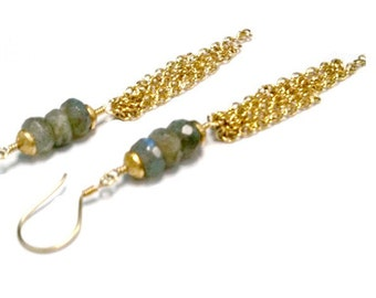 Gray Earrings Labradorite Earrings Gold Chain Jewelry Natural Gemstone Jewellery Grey Handcrafted Dangle