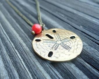 Sand Dollar Necklace - Brass Jewelry - Minimal